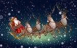 Обои Дед мороз в санях с оленями на фоне неба со снегом