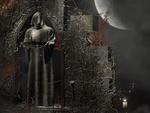 Обои Человек в балахоне с подносом и зажженной свечой стоит в каменной арке, в тумане, на фоне сумрачной луны
