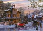 Обои Рождество в деревне в начале века. Растаявшая дорога, дома, автомобили и люди, by Dominic Davison