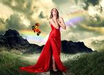 Обои Девушка в красном платье смотрит в небо на фоне радуги в небе, летящих воздушных шаров и птиц, Lost in paradise / Потеряна в раю, by Blackberry