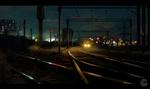 Обои Железнодорожные пути и ночной поезд на них, by Tony Skeor