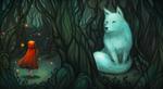 Обои Девочка в красном плаще напротив белого волка в лесу, by Faebelina