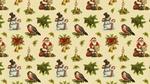 Обои Санта Клаус с мешком подарков, снегирь, снеговик, свеча и колокольчики