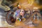 Обои Лицо девушки с разноцветными глазами в циферблате. на фоне часов и летящей птицы, by Roserikagraphic