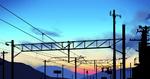 Обои Линии электропередач на фоне закатного неба
