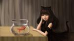 Обои Длинноволосая девушка-нэко в черном платье сидит за столом с аквариум с рыбкой на нем, by Lukto