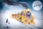 Обои Маленькая девочка встречает рождественский поезд с подарками, на фоне полной Луны оленья упряжка Санта Клауса