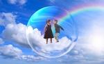 Обои В небе парит мыльный пузырь, в котором заключены мальчик с девочкой, стоящие на облаке, на фоне радуги и облаков
