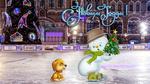 Обои Снеговик и рыжая собачка на новогоднем катке, (С новым годом! )