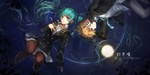 Обои Вокалоиды / Vocaloid Мику Хатсуне / Hatsune Miku и Kagamine Len в школьной форме лежат в воде, art by swd3e2