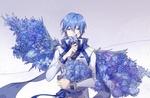 Обои Vocaloid Kaito Shion / Вокалоид Кайто Шион с букетом голубых роз и голубыми крыльями из цветов за спиной