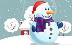 Обои Снеговик в шарфе и новогодней шапке стоит на фоне домиков и деревьев в снегу