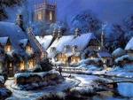 Обои Вечер в деревне зимой, в окнах горит свет, художник Thomas Kinkade