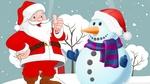 Обои Дед Мороз со снеговиком
