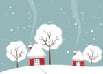 Обои Домики и деревья в снегу