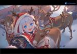 Обои Девочка в новогоднем наряде среди оленей