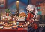 Обои Девочка с белыми волосами и голубыми глазами, в фартуке, держит блюдо с гусем перед северными оленями, за окном наступила Рождественская ночь