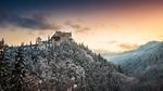 Обои Замок Hohenwerfen Castle, Austria / Хоэнверфен, в Австрии зимой, by Croosterpix