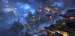 Обои Древний китайский город в скалах и летящие фонарики в ночном небе, автор ling xiang