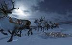 Обои Санта Клаус в санях, на оленях летит по ночному небу