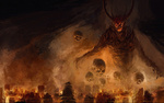 Обои Демон и черепа над пылающим городом, by ChrisCold