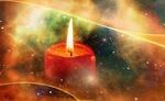 Обои Горящая свеча на разноцветном фоне