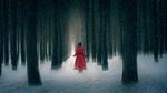 Обои Девушка в красном пальто в зимнем лесу, by bingo