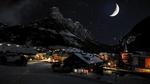 Обои Звездная зимняя ночь над горной деревней, Alps, Italy / Альпы, Италия