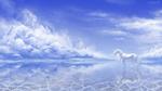 Обои Белый единорог стоит на поверхности воды на фоне облачного неба, by Alaiaorax