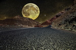 Обои Дорога в горах на фоне планеты в звездном небе