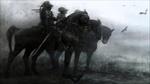 Обои Три темных всадника на конях стоят в поле