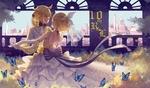 Обои Vocaloids Kagamine Rin & Len / Вокалоиды Кагамине Рин и Лен танцуют вальс в окружении голубых бабочек в зале с видом на большой город, happy birthday, 10 th R & L