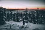 Обои Лыжник стоит на сопке перед заснеженным лесом