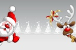 Обои Санта Клаус и олень с желто-красным бантом на рогах на фоне елочек