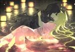 Обои Две Neko girl / неко-девочки в кимоно целуются, лежа в воде, ночью среди фонариков
