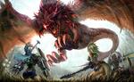 Обои Битва амазонок с драконом на фоне магического света, падающего с неба