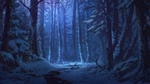 Обои Нарисованный зимний лес ночью, by Adai Ikue