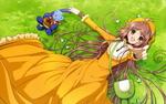 Обои Кобато Ханато / Hanato Kobato и Иореги / Иороги / Ioryogi / Iorogi из аниме и манги Кобато / Kobato, лежат на траве