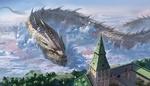 Обои Огромный рогатый дракон подлетел к высокой башне замка