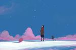 Обои Девушка смотрит на розовый бумажный самолетик, парящий в небе