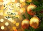 Обои Новогодние шары на веточке ели (2018 Happy New Year / счастливого Нового года)