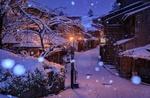 Обои Ночная улочка старого Kyoto / Киото во время снегопада, Japan / Япония