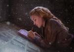 Обои Светловолосая девушка лежа на крыше записывает в книжку, by Aliena85