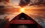 Обои Восход солнца, лодка на озере, в котором отражается небо, фотограф ash vain