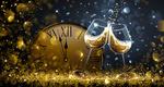 Обои Бокалы с шампанским и часы на фоне боке с бликами и свечением