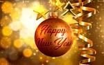 Обои На новогоднем шаре надпись Happy New Year / Cчастливого Нового года