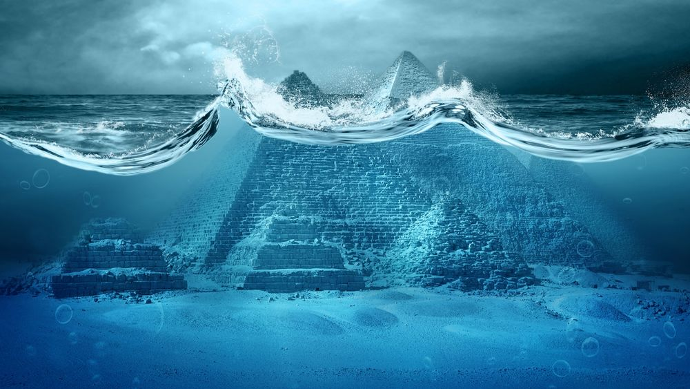 Обои для рабочего стола Пирамиды на дне океана