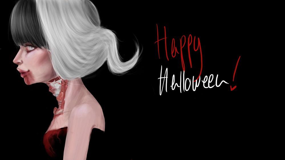 Обои для рабочего стола Вампир с кровью на губах (Happy Halloween / Счастливого Хеллоувина)