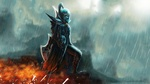 Обои Phantom assassin / Фантом ассассин с оружием идет под дождем, из игры Dota 2 / Дота 2