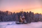 Обои Храм Андрея Первозванного на Вуоксе зимой, Ленинградская область, фотограф Ed Gordeev